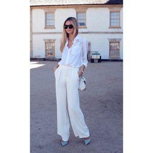 Zara High Waist Wide Leg White Trousers Pants Sz L